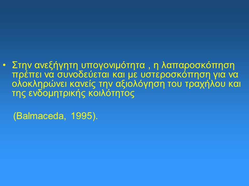 Στην ανεξήγητη υπογονιμότητα, η λαπαροσκόπηση πρέπει να συνοδεύεται και με υστεροσκόπηση για να ολοκληρώνει κανείς την αξιολόγηση του τραχήλου και της ενδομητρικής κοιλότητος (Balmaceda, 1995).