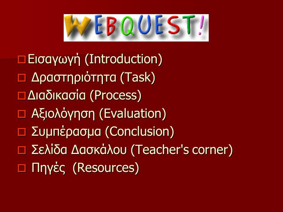  Εισαγωγή (Introduction)  Δραστηριότητα (Task)  Διαδικασία (Process)  Αξιολόγηση (Evaluation)  Συμπέρασμα (Conclusion)  Σελίδα Δασκάλου (Teacher s corner)  Πηγές (Resources)