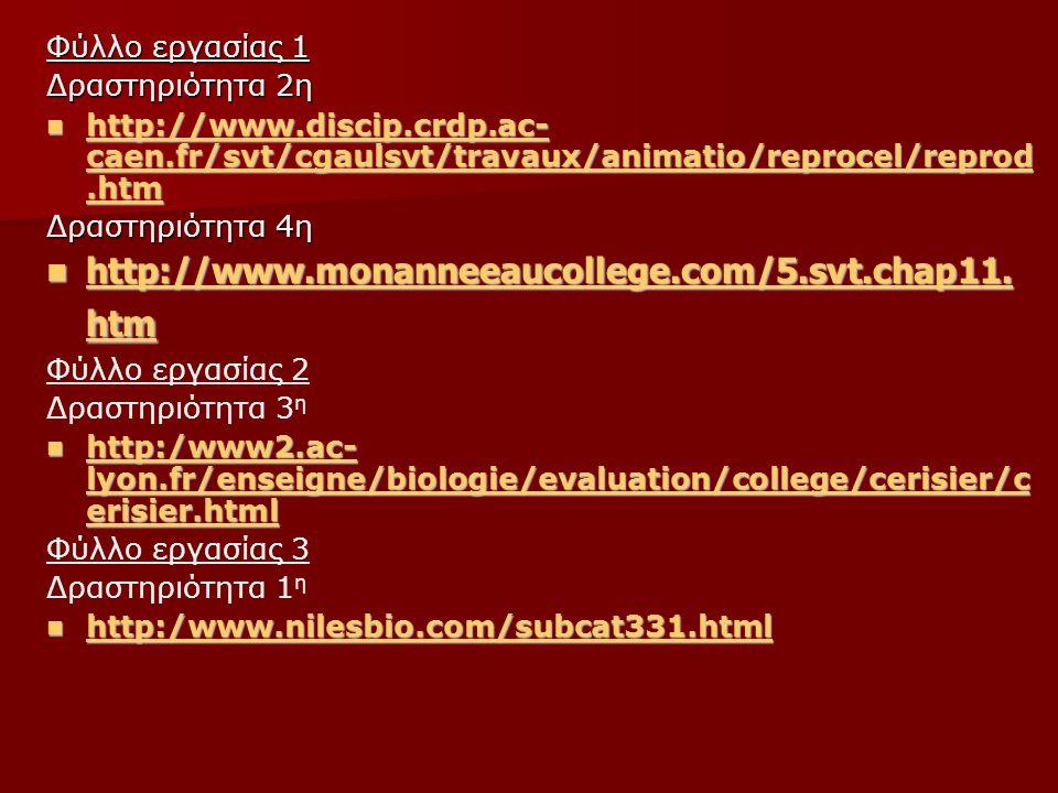 Φύλλο εργασίας 1 Δραστηριότητα 2η http://www.discip.crdp.ac- caen.fr/svt/cgaulsvt/travaux/animatio/reprocel/reprod.htm http://www.discip.crdp.ac- caen.fr/svt/cgaulsvt/travaux/animatio/reprocel/reprod.htm http://www.discip.crdp.ac- caen.fr/svt/cgaulsvt/travaux/animatio/reprocel/reprod.htm http://www.discip.crdp.ac- caen.fr/svt/cgaulsvt/travaux/animatio/reprocel/reprod.htm Δραστηριότητα 4η http://www.monanneeaucollege.com/5.svt.chap11.