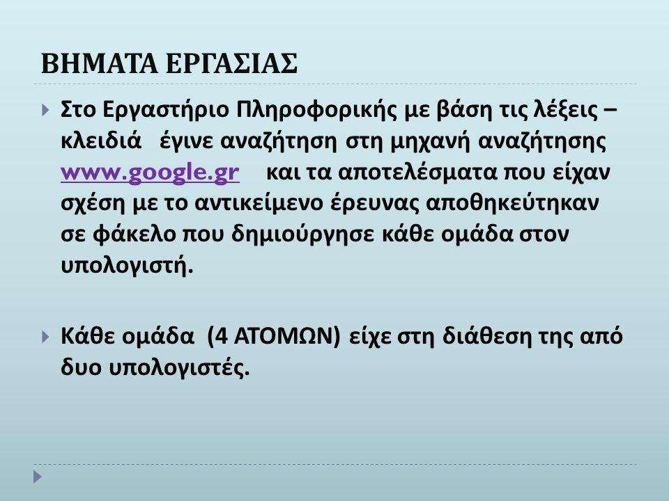 ΒΗΜΑΤΑ ΕΡΓΑΣΙΑΣ  Στο Εργαστήριο Πληροφορικής με βάση τις λέξεις – κλειδιά έγινε αναζήτηση στη μηχανή αναζήτησης www.google.gr και τα αποτελέσματα που