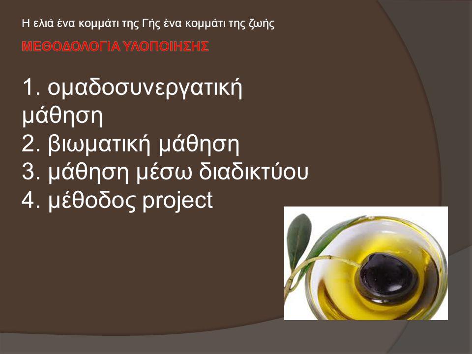 1. ομαδοσυνεργατική μάθηση 2. βιωματική μάθηση 3. μάθηση μέσω διαδικτύου 4. μέθοδος project Η ελιά ένα κομμάτι της Γής ένα κομμάτι της ζωής