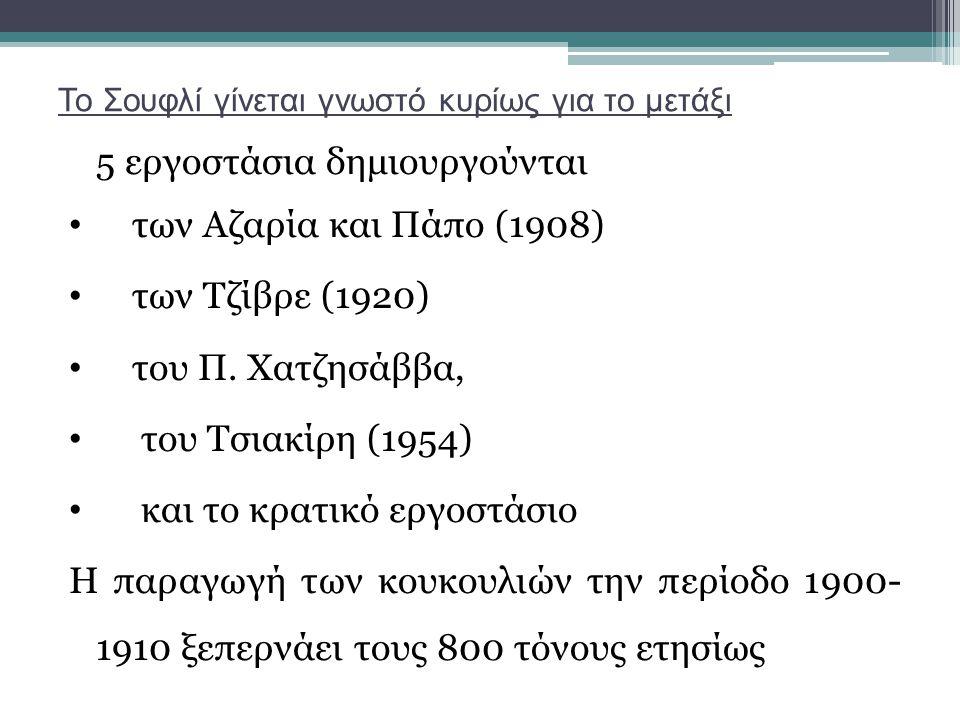 Το Σουφλί γίνεται γνωστό κυρίως για το μετάξι 5 εργοστάσια δημιουργούνται των Αζαρία και Πάπο (1908) των Τζίβρε (1920) του Π. Χατζησάββα, του Τσιακίρη