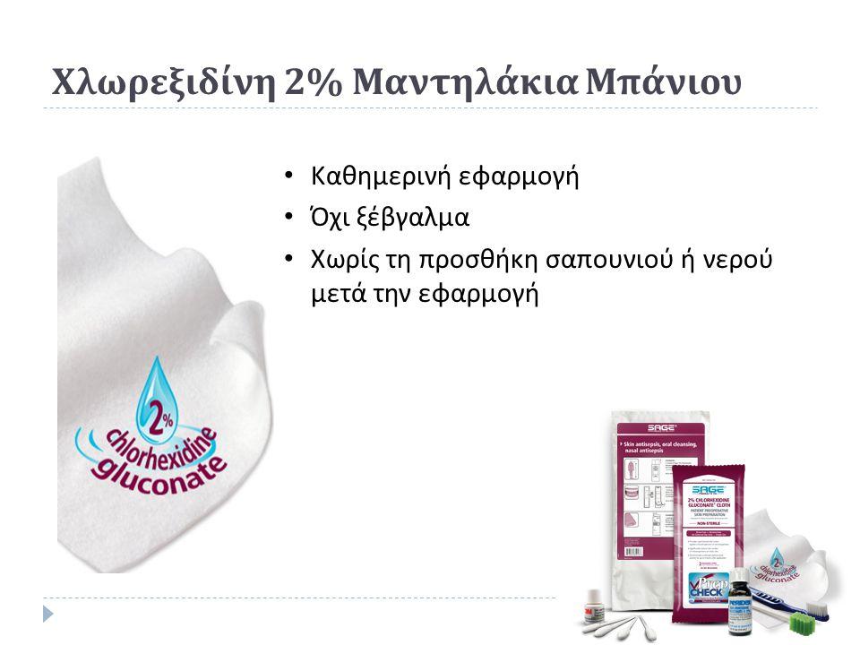 Χλωρεξιδίνη 2% Μαντηλάκια Μπάνιου Καθημερινή εφαρμογή Όχι ξέβγαλμα Χωρίς τη προσθήκη σαπουνιού ή νερού μετά την εφαρμογή