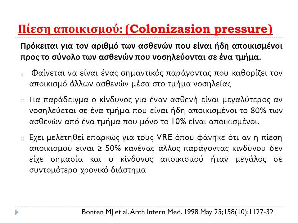 Πίεση αποικισμού : (Colonizasion pressure) Πρόκειται για τον αριθμό των ασθενών που είναι ήδη αποικισμένοι προς το σύνολο των ασθενών που νοσηλεύονται