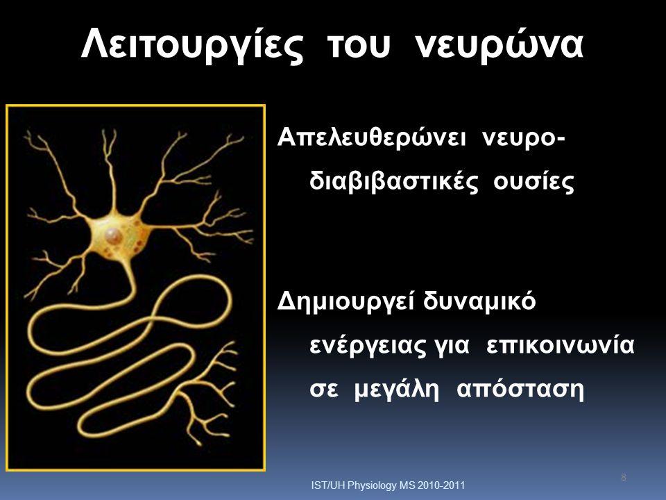 8 Λειτουργίες του νευρώνα Απελευθερώνει νευρο- διαβιβαστικές ουσίες Δημιουργεί δυναμικό ενέργειας για επικοινωνία σε μεγάλη απόσταση IST/UH Physiology