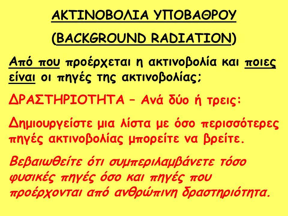 ΑΚΤΙΝΟΒΟΛΙΑ ΥΠΟΒΑΘΡΟΥ (BACKGROUND RADIATION) Από που προέρχεται η ακτινοβολία και ποιες είναι οι πηγές της ακτινοβολίας; ΔΡΑΣΤΗΡΙΟΤΗΤΑ – Ανά δύο ή τρε