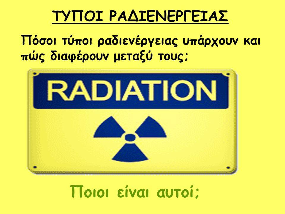 ΤΥΠΟΙ ΡΑΔΙΕΝΕΡΓΕΙΑΣ Πόσοι τύποι ραδιενέργειας υπάρχουν και πώς διαφέρουν μεταξύ τους; Ποιοι είναι αυτοί;