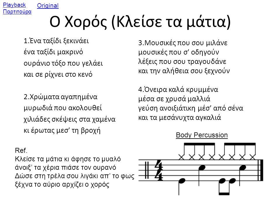 Αξιολόγηση: Βάλτε **** όπου παίζουν τα διάφορα μέρη 8μετρα: 1ο2ο3ο4ο Κιθάρα ****************** Ξυλόφωνα Κρουστά Αυλοί Τραγούδι Αυτοσχεδιασμοί
