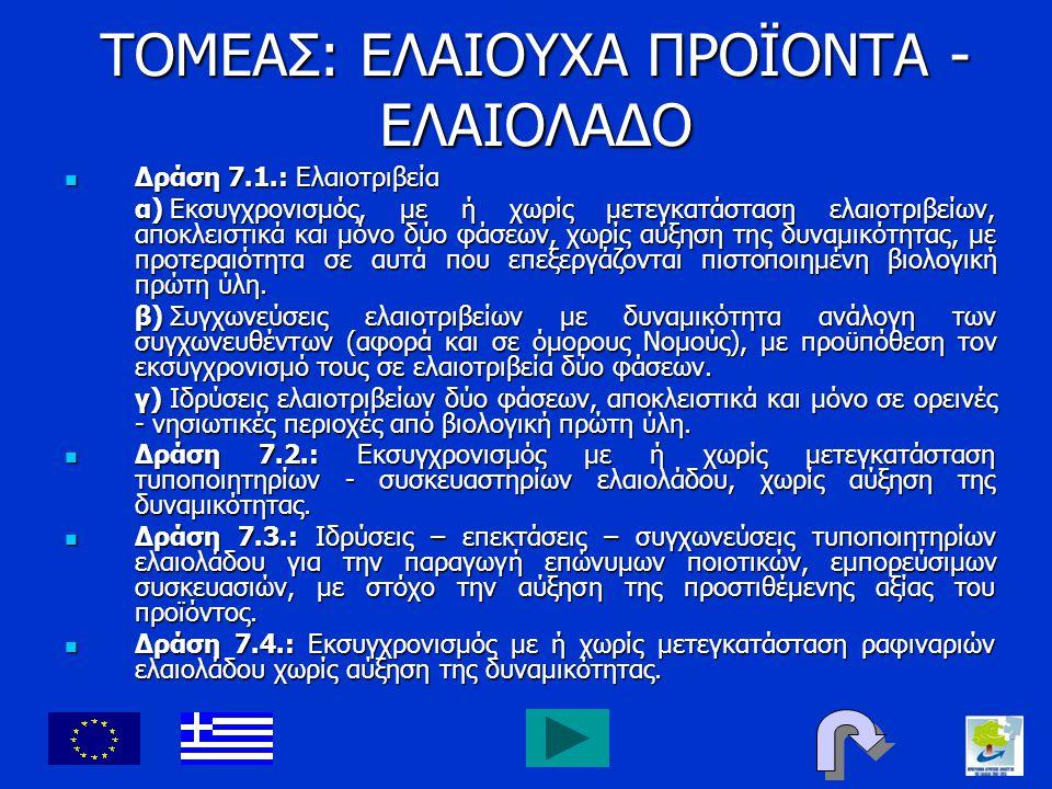 ΤΟΜΕΑΣ: ΕΛΑΙΟΥΧΑ ΠΡΟΪΟΝΤΑ - ΕΛΑΙΟΛΑΔΟ Δράση 7.1.: Ελαιοτριβεία Δράση 7.1.: Ελαιοτριβεία α)Εκσυγχρονισμός, με ή χωρίς μετεγκατάσταση ελαιοτριβείων, απο