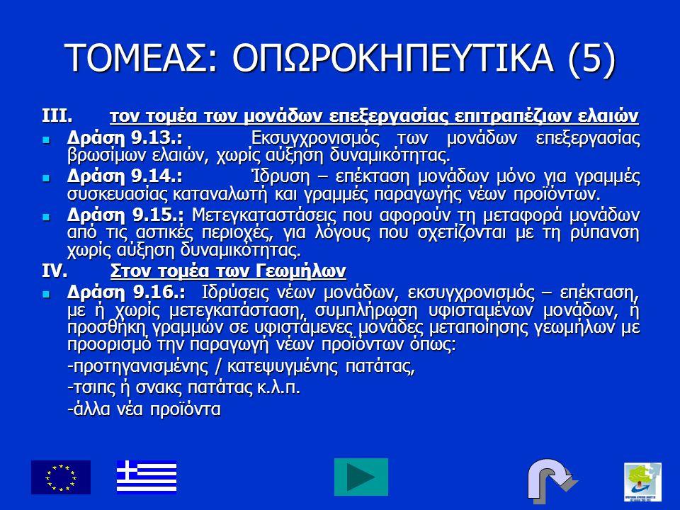 ΤΟΜΕΑΣ: ΟΠΩΡΟΚΗΠΕΥΤΙΚΑ (5) III.τον τομέα των μονάδων επεξεργασίας επιτραπέζιων ελαιών Δράση 9.13.: Εκσυγχρονισμός των μονάδων επεξεργασίας βρωσίμων ελ