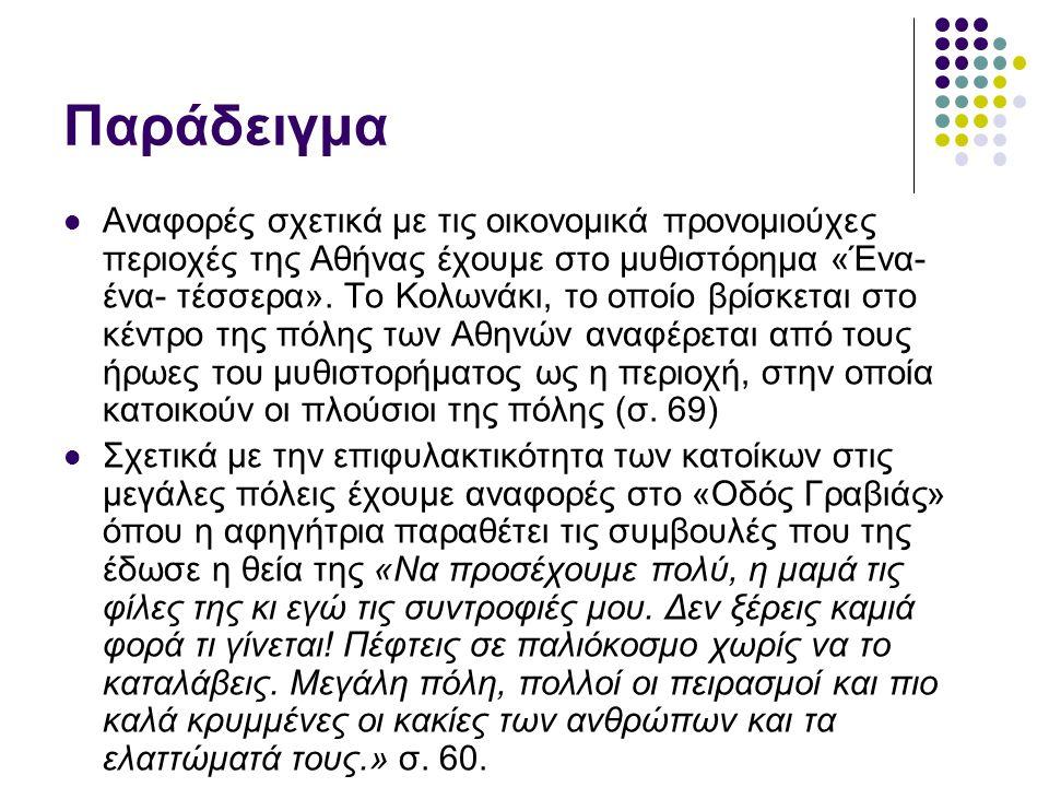 Παράδειγμα Αναφορές σχετικά με τις οικονομικά προνομιούχες περιοχές της Αθήνας έχουμε στο μυθιστόρημα «Ένα- ένα- τέσσερα». Το Κολωνάκι, το οποίο βρίσκ