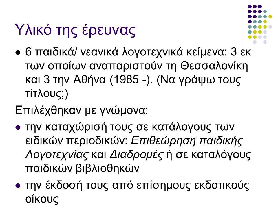 Υλικό της έρευνας 6 παιδικά/ νεανικά λογοτεχνικά κείμενα: 3 εκ των οποίων αναπαριστούν τη Θεσσαλονίκη και 3 την Αθήνα (1985 -). (Να γράψω τους τίτλους