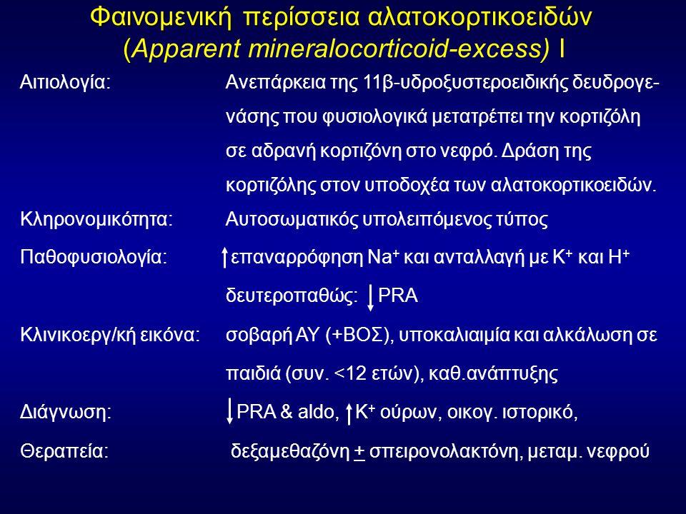 Αιτιολογία: Ανεπάρκεια της 11β-υδροξυστεροειδικής δευδρογε- νάσης που φυσιολογικά μετατρέπει την κορτιζόλη σε αδρανή κορτιζόνη στο νεφρό.
