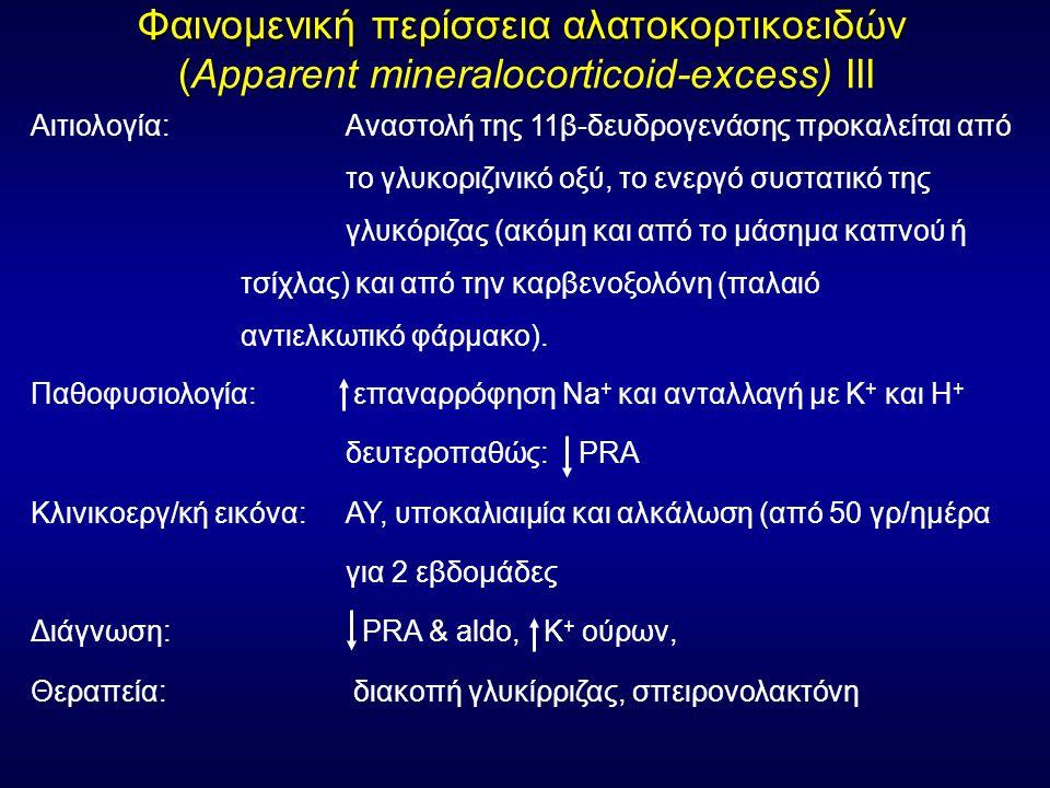 Φαινομενική περίσσεια αλατοκορτικοειδών ( Φαινομενική περίσσεια αλατοκορτικοειδών (Apparent mineralocorticoid-excess) ΙΙΙ Αιτιολογία: Αναστολή της 11β-δευδρογενάσης προκαλείται από το γλυκοριζινικό οξύ, το ενεργό συστατικό της γλυκόριζας (ακόμη και από το μάσημα καπνού ή τσίχλας) και από την καρβενοξολόνη (παλαιό αντιελκωτικό φάρμακο).
