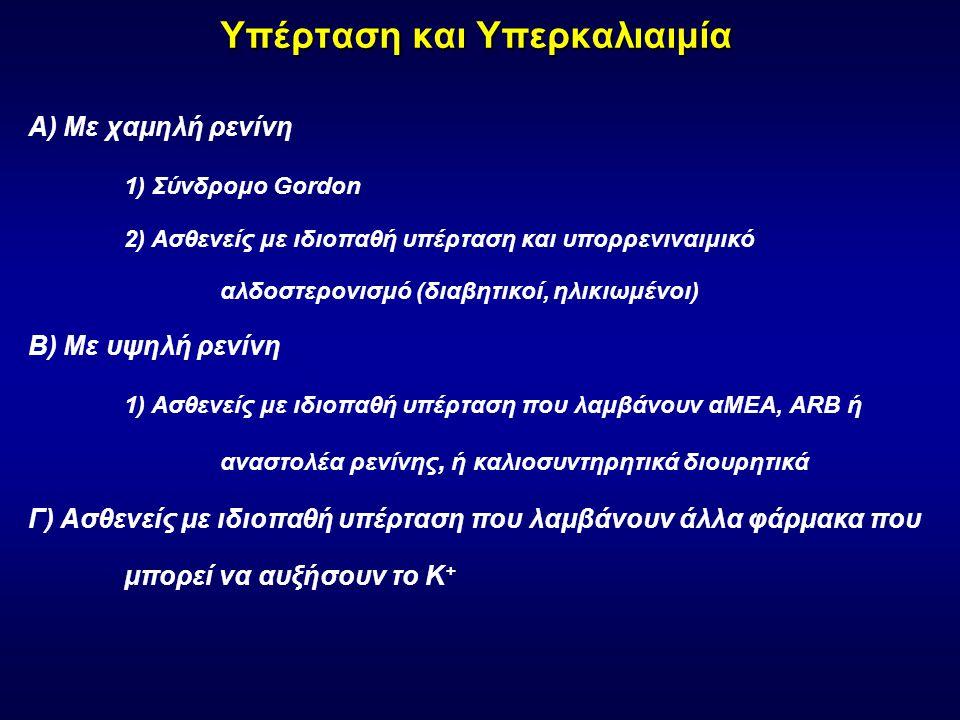 Υπέρταση και Υπερκαλιαιμία Α) Με χαμηλή ρενίνη 1) Σύνδρομο Gordon 2) Ασθενείς με ιδιοπαθή υπέρταση και υπορρενιναιμικό αλδοστερονισμό (διαβητικοί, ηλικιωμένοι) Β) Με υψηλή ρενίνη 1) Ασθενείς με ιδιοπαθή υπέρταση που λαμβάνουν αΜΕΑ, ARB ή αναστολέα ρενίνης, ή καλιοσυντηρητικά διουρητικά Γ) Ασθενείς με ιδιοπαθή υπέρταση που λαμβάνουν άλλα φάρμακα που μπορεί να αυξήσουν το Κ +