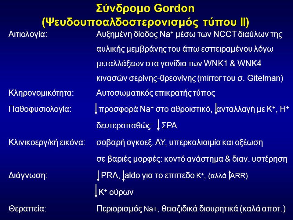 Σύνδρομο Gordon (Ψευδουποαλδοστερονισμός τύπου ΙΙ) Αιτιολογία: Αυξημένη δίοδος Na + μέσω των NCCT διαύλων της αυλικής μεμβράνης του άπω εσπειραμένου λόγω μεταλλάξεων στα γονίδια των WNK1 & WNK4 κινασών σερίνης-θρεονίνης (mirror του σ.