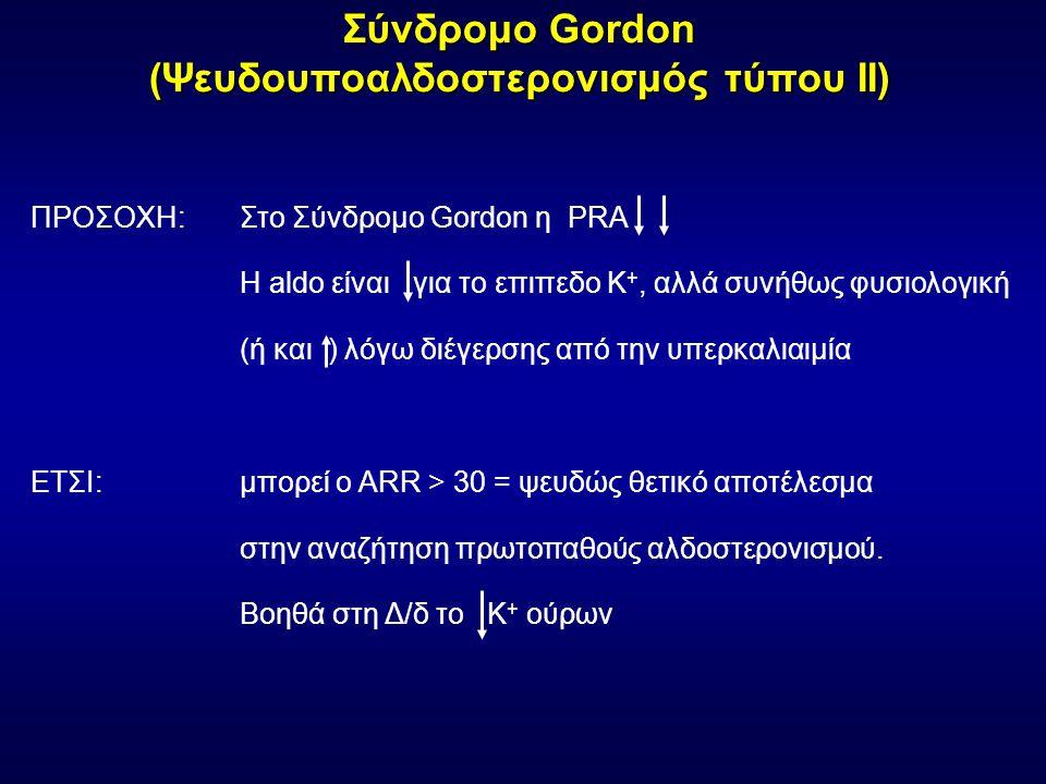 Σύνδρομο Gordon (Ψευδουποαλδοστερονισμός τύπου ΙΙ) ΠΡΟΣΟΧΗ: Στο Σύνδρομο Gordon η PRA Η aldo είναι για το επιπεδο K +, αλλά συνήθως φυσιολογική (ή και ) λόγω διέγερσης από την υπερκαλιαιμία ΕΤΣΙ:μπορεί ο ARR > 30 = ψευδώς θετικό αποτέλεσμα στην αναζήτηση πρωτοπαθούς αλδοστερονισμού.