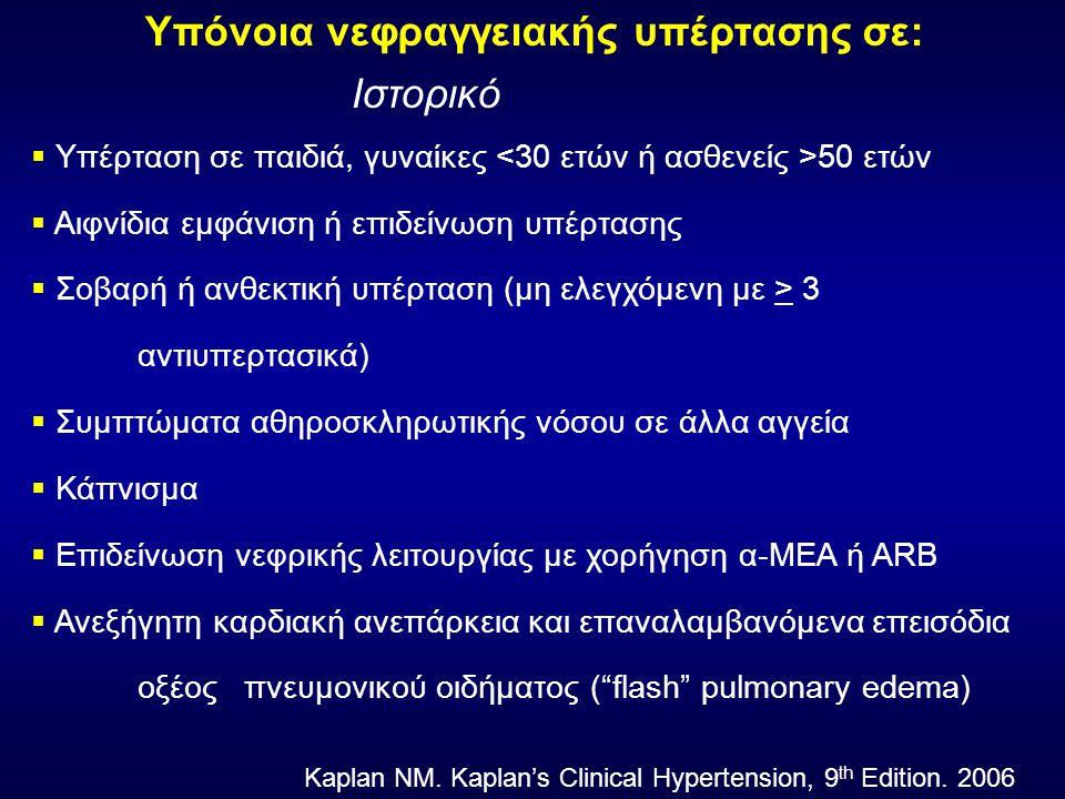 Υπόνοια νεφραγγειακής υπέρτασης σε: Ιστορικό  Υπέρταση σε παιδιά, γυναίκες 50 ετών  Αιφνίδια εμφάνιση ή επιδείνωση υπέρτασης  Σοβαρή ή ανθεκτική υπέρταση (μη ελεγχόμενη με > 3 αντιυπερτασικά)  Συμπτώματα αθηροσκληρωτικής νόσου σε άλλα αγγεία  Κάπνισμα  Επιδείνωση νεφρικής λειτουργίας με χορήγηση α-ΜΕΑ ή ARB  Ανεξήγητη καρδιακή ανεπάρκεια και επαναλαμβανόμενα επεισόδια οξέος πνευμονικού οιδήματος ( flash pulmonary edema) Kaplan NM.