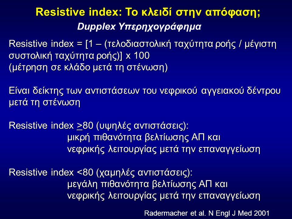 Resistive index = [1 – (τελοδιαστολική ταχύτητα ροής / μέγιστη συστολική ταχύτητα ροής)] x 100 (μέτρηση σε κλάδο μετά τη στένωση) Είναι δείκτης των αντιστάσεων του νεφρικού αγγειακού δέντρου μετά τη στένωση Resistive index >80 (υψηλές αντιστάσεις): μικρή πιθανότητα βελτίωσης ΑΠ και νεφρικής λειτουργίας μετά την επαναγγείωση Resistive index <80 (χαμηλές αντιστάσεις): μεγάλη πιθανότητα βελτίωσης ΑΠ και νεφρικής λειτουργίας μετά την επαναγγείωση Resistive index: Το κλειδί στην απόφαση; Radermacher et al.