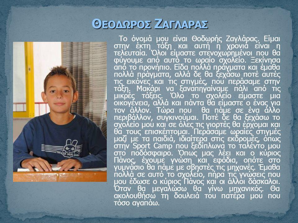 Το όνομά μου είναι Θοδωρής Ζαγλάρας. Είμαι στην έκτη τάξη και αυτή η χρονιά είναι η τελευταία. Όλοι είμαστε στενοχωρημένοι που θα φύγουμε από αυτό το