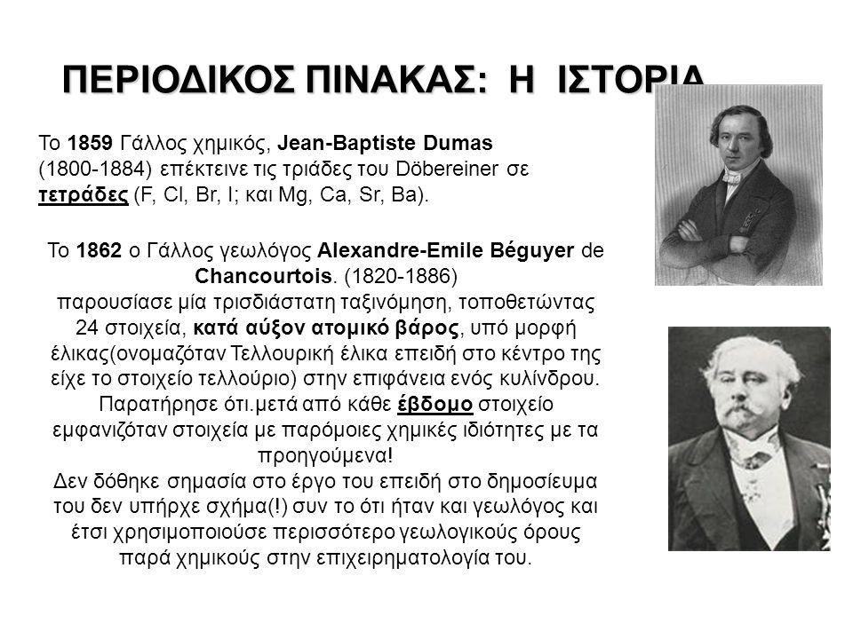 ΠΕΡΙΟΔΙΚΟΣ ΠΙΝΑΚΑΣ: Η ΙΣΤΟΡΙΑ Το 1859 Γάλλος χημικός, Jean-Baptiste Dumas (1800-1884) επέκτεινε τις τριάδες του Döbereiner σε τετράδες (F, Cl, Br, I; και Mg, Ca, Sr, Ba).