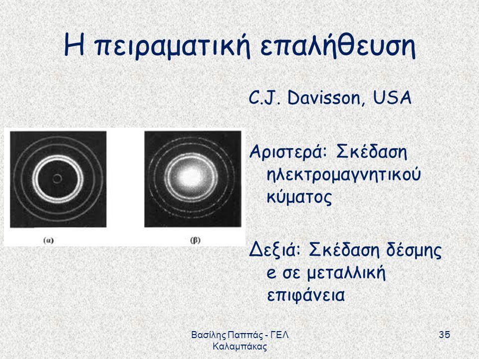 Η πειραματική επαλήθευση C.J. Davisson, USA Αριστερά: Σκέδαση ηλεκτρομαγνητικού κύματος Δεξιά: Σκέδαση δέσμης e σε μεταλλική επιφάνεια 35 Βασίλης Παππ
