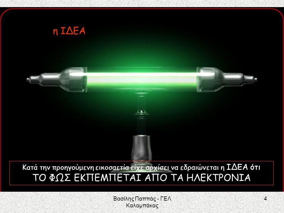 25 Και αποδεχόμενος την εξίσωση του Planck Ε = h f για την ΕΝΕΡΓΕΙΑ ΕΝΟΣ ΚΒΑΝΤΟΥ (ενέργεια ενός φωτονίου) ΚΑΤΑΦΕΡΕ ΝΑ ΕΡΜΗΝΕΥΣΕΙ ΤΟ « εκπέμπονται ορισμένες μόνο ΣΥΧΝΟΤΗΤΕΣ» με την ιδέα ότι «η ενέργεια των ηλεκτρονίων είναι ΚΒΑΝΤΙΣΜΕΝΗ» Ο Bohr δέχτηκε ότι ότι η ΔΙΑΤΗΡΗΣΗ ΤΗΣ ΕΝΕΡΓΕΙΑΣ ισχύει και στον Μικρόκοσμο των ηλεκτρονίων και την εφάρμοσε ΣΕ ΕΝΑ ΑΠΟΔΙΕΓΕΙΡΟΜΕΝΟ ΗΛΕΚΤΡΟΝΙΟ Ε αρχ του ηλεκτρονίου = Ε τελ του ηλεκτρονίου + Ενέργεια ενός φωτονίου hf = E αρχ – Ε τελ Βασίλης Παππάς - ΓΕΛ Καλαμπάκας