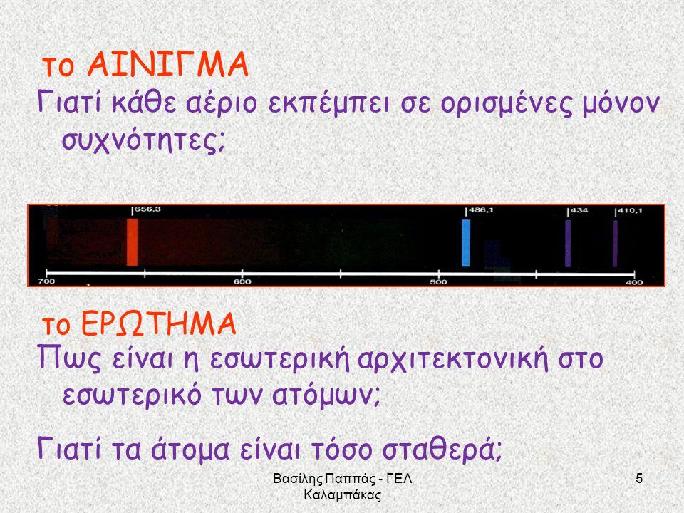 16 Από τη μια λοιπόν το ΜΟΝΤΕΛΟ του ατόμου με πυρήνα και ΕΝΑ ηλεκτρόνιο σε κυκλική τροχιά Και από την άλλη το υλικό της φασματοσκοπίας και οι σχετικές επεξεργασίες που έδιναν απάντηση στο «ποιες είναι οι συχνότητες της ακτινοβολίας που εκπέμπει το υδρογόνο;» Βασίλης Παππάς - ΓΕΛ Καλαμπάκας