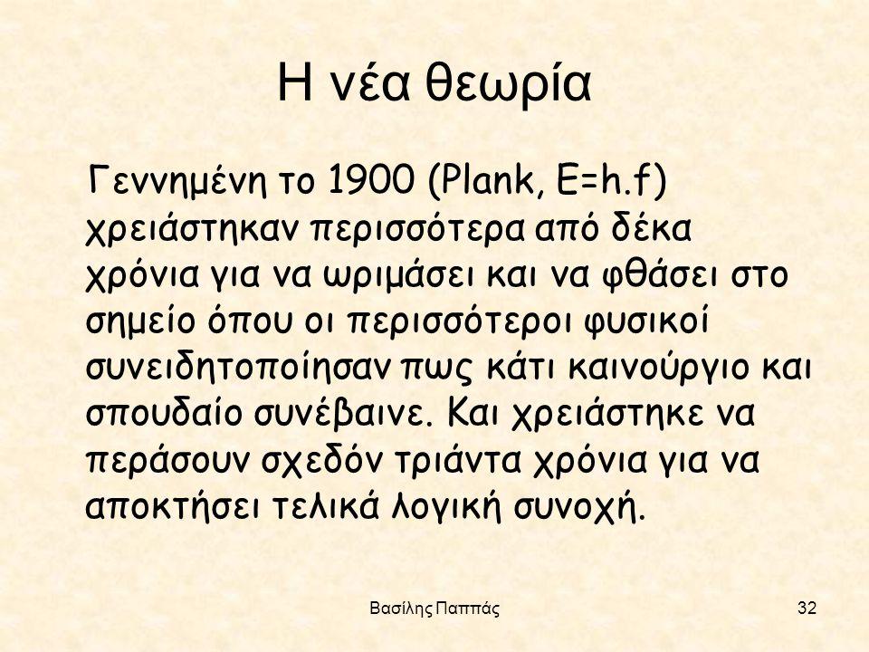 Βασίλης Παππάς32 Η νέα θεωρία Γεννημένη το 1900 (Plank, E=h.f) χρειάστηκαν περισσότερα από δέκα χρόνια για να ωριμάσει και να φθάσει στο σημείο όπου ο
