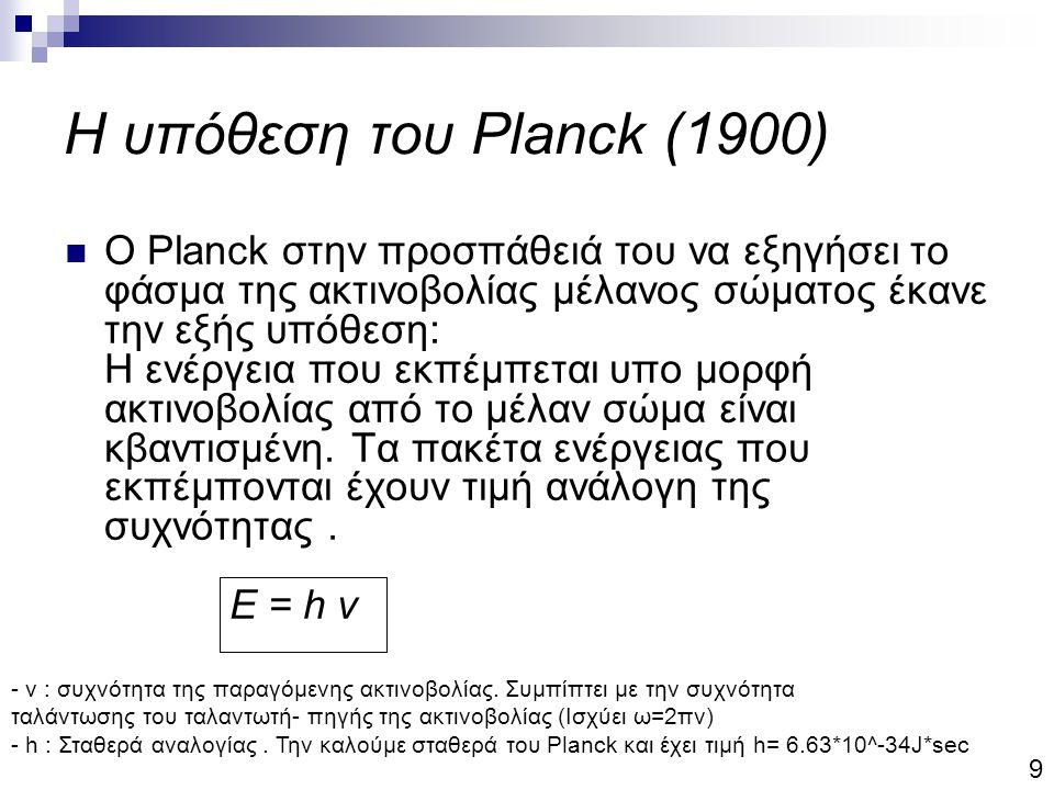 Η υπόθεση του Planck (1900) Ο Planck στην προσπάθειά του να εξηγήσει το φάσμα της ακτινοβολίας μέλανος σώματος έκανε την εξής υπόθεση: Η ενέργεια που εκπέμπεται υπο μορφή ακτινοβολίας από το μέλαν σώμα είναι κβαντισμένη.