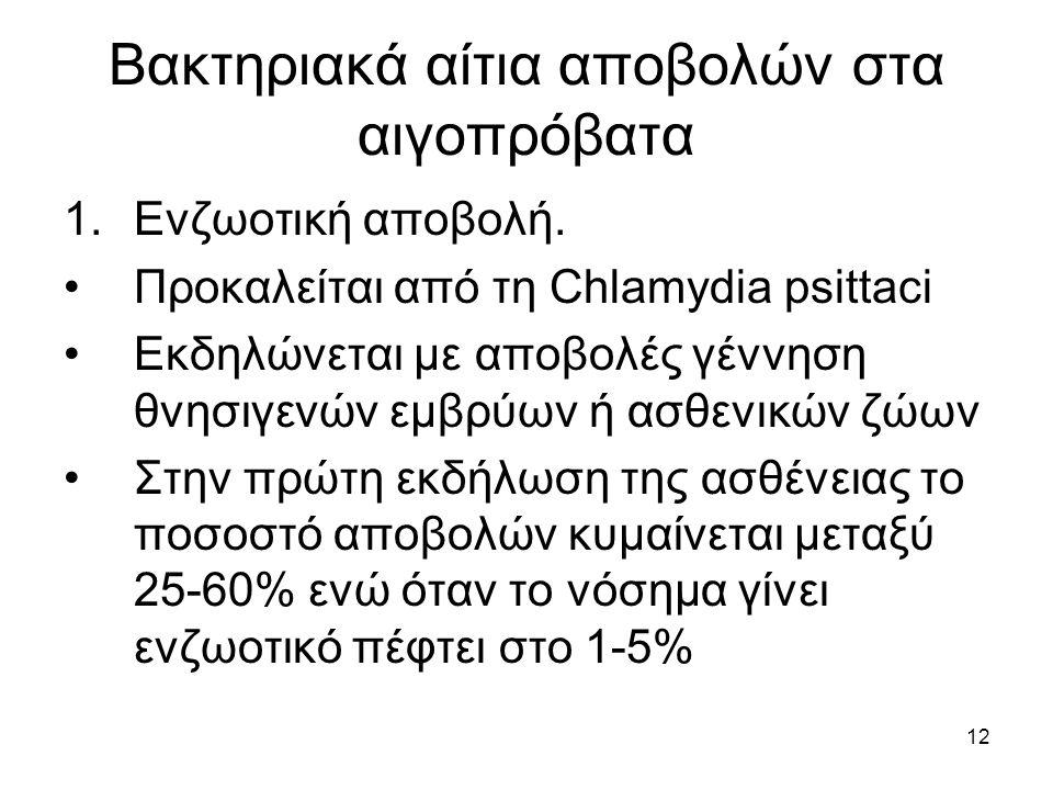 12 Βακτηριακά αίτια αποβολών στα αιγοπρόβατα 1.Ενζωοτική αποβολή. Προκαλείται από τη Chlamydia psittaci Εκδηλώνεται με αποβολές γέννηση θνησιγενών εμβ