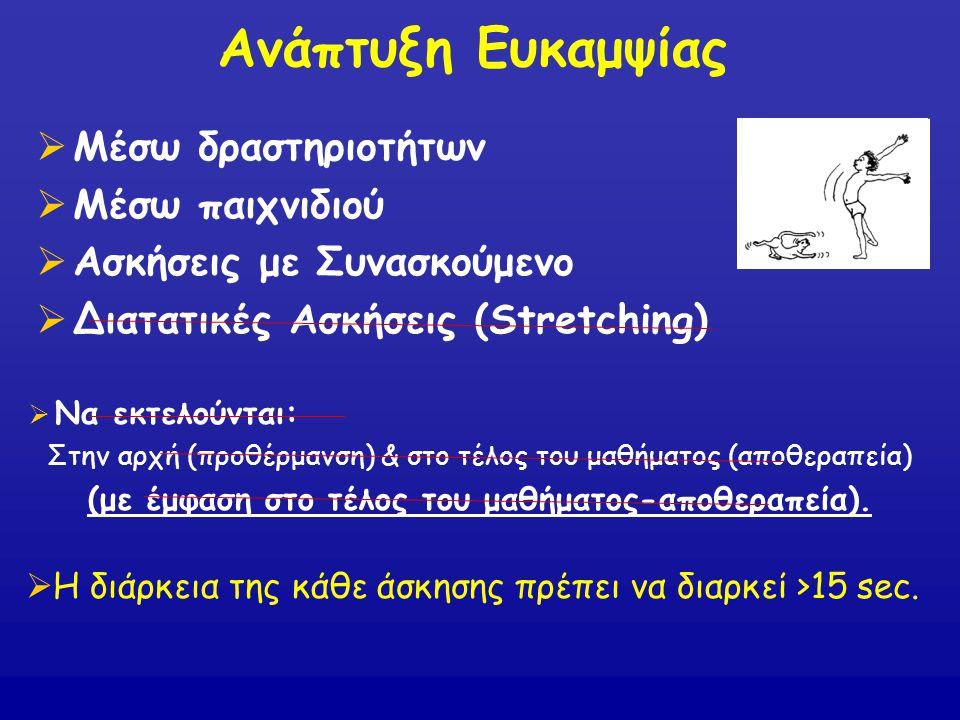Ανάπτυξη Ευκαμψίας  Μέσω δραστηριοτήτων  Μέσω παιχνιδιού  Ασκήσεις με Συνασκούμενο  Διατατικές Ασκήσεις (Stretching)  Η διάρκεια της κάθε άσκησης
