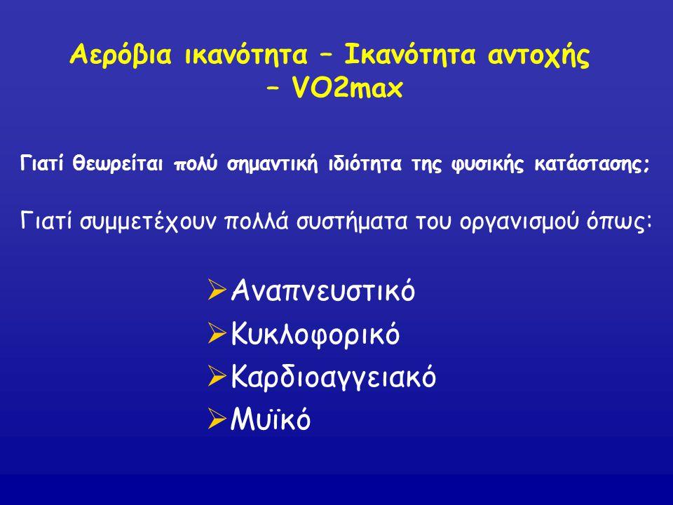Αερόβια ικανότητα – Ικανότητα αντοχής – VO2max Γιατί θεωρείται πολύ σημαντική ιδιότητα της φυσικής κατάστασης; Γιατί συμμετέχουν πολλά συστήματα του ο