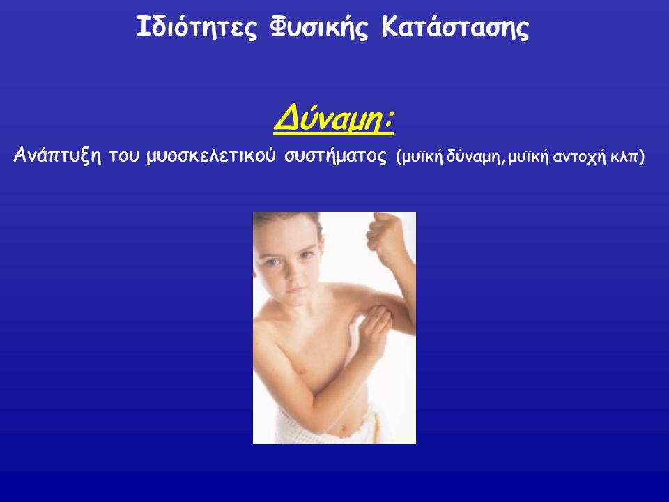 Δύναμη: Ανάπτυξη του μυοσκελετικού συστήματος (μυϊκή δύναμη, μυϊκή αντοχή κλπ) Ιδιότητες Φυσικής Κατάστασης