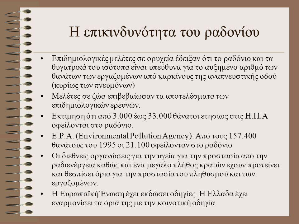 Η επικινδυνότητα του ραδονίου Επιδημιολογικές μελέτες σε ορυχεία έδειξαν ότι το ραδόνιο και τα θυγατρικά του ισότοπα είναι υπεύθυνα για το αυξημένο αρ