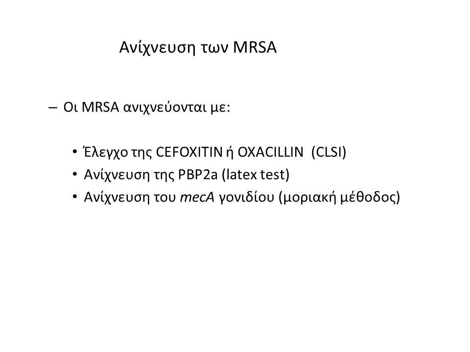 Ανίχνευση των MRSA – Οι MRSA ανιχνεύονται με: Έλεγχο της CEFOXITIN ή OXACILLIN (CLSI) Ανίχνευση της PBP2a (latex test) Ανίχνευση του mecA γονιδίου (μο