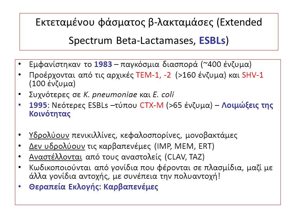 Εκτεταμένου φάσματος β-λακταμάσες (Extended Spectrum Beta-Lactamases, ESBLs) Εμφανίστηκαν το 1983 – παγκόσμια διασπορά (~400 ένζυμα) Προέρχονται από τ