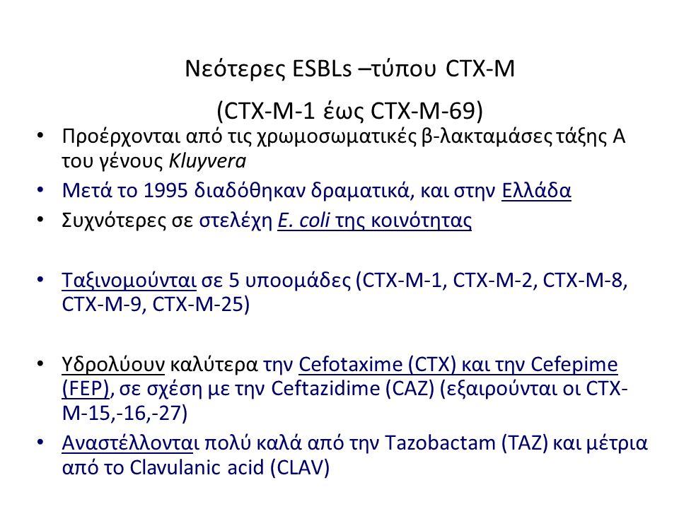 Νεότερες ESBLs –τύπου CTX-M (CTX-M-1 έως CTX-M-69) Προέρχονται από τις χρωμοσωματικές β-λακταμάσες τάξης Α του γένους Kluyvera Mετά το 1995 διαδόθηκαν