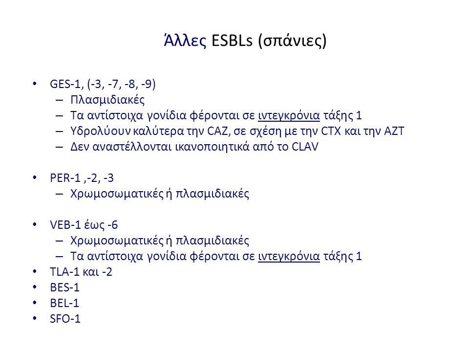 Άλλες ESBLs (σπάνιες) GES-1, (-3, -7, -8, -9) – Πλασμιδιακές – Τα αντίστοιχα γονίδια φέρονται σε ιντεγκρόνια τάξης 1 – Υδρολύουν καλύτερα την CAZ, σε