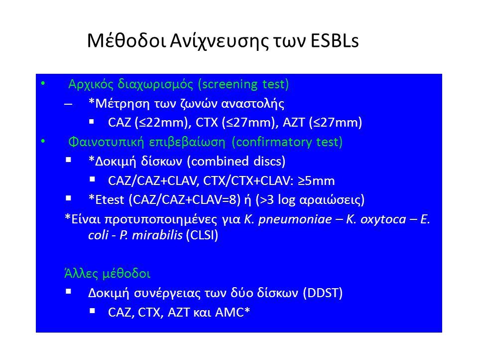 Μέθοδοι Ανίχνευσης των ESBLs Αρχικός διαχωρισμός (screening test) – *Μέτρηση των ζωνών αναστολής  CAZ (≤22mm), CTX (≤27mm), AZT (≤27mm) Φαινοτυπική ε