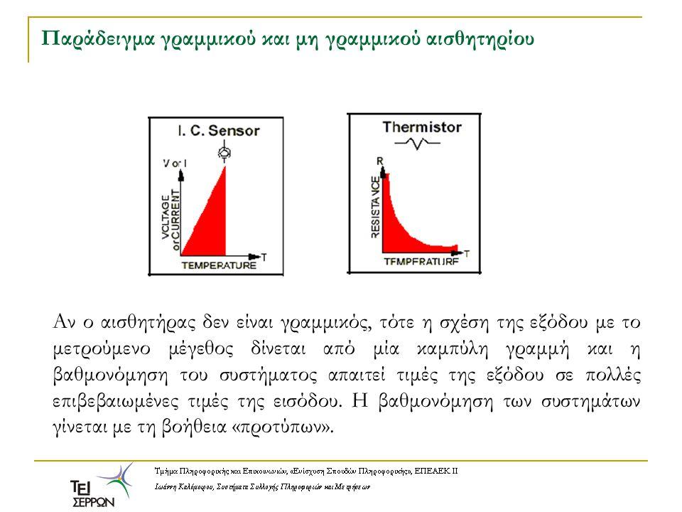 Χαρακτηριστικά αισθητήρων: Ευαισθησία Έστω x(t) το σήμα εισόδου (π.χ.