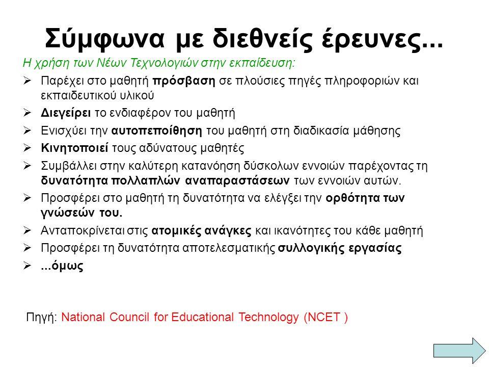 Σύμφωνα με διεθνείς έρευνες... Πηγή: National Council for Educational Technology (NCET ) Η χρήση των Νέων Τεχνολογιών στην εκπαίδευση: ΠΠαρέχει στο