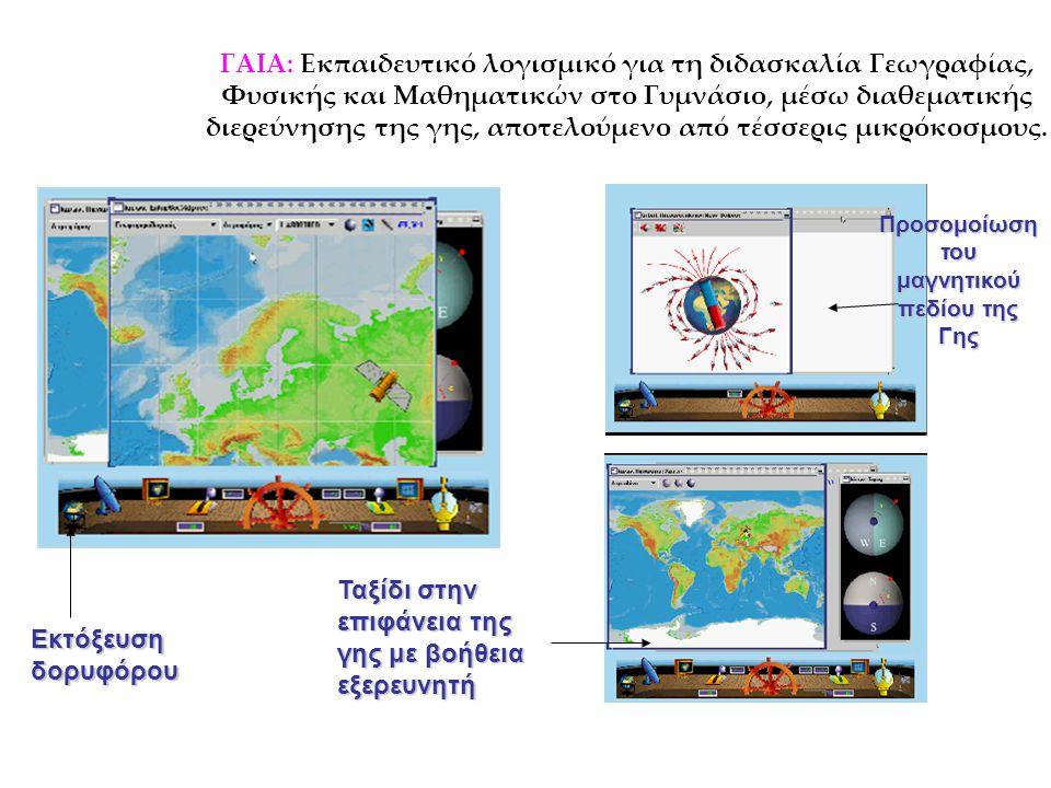 ΓΑΙΑ: Εκπαιδευτικό λογισμικό για τη διδασκαλία Γεωγραφίας, Φυσικής και Μαθηματικών στο Γυμνάσιο, μέσω διαθεματικής διερεύνησης της γης, αποτελούμενο α