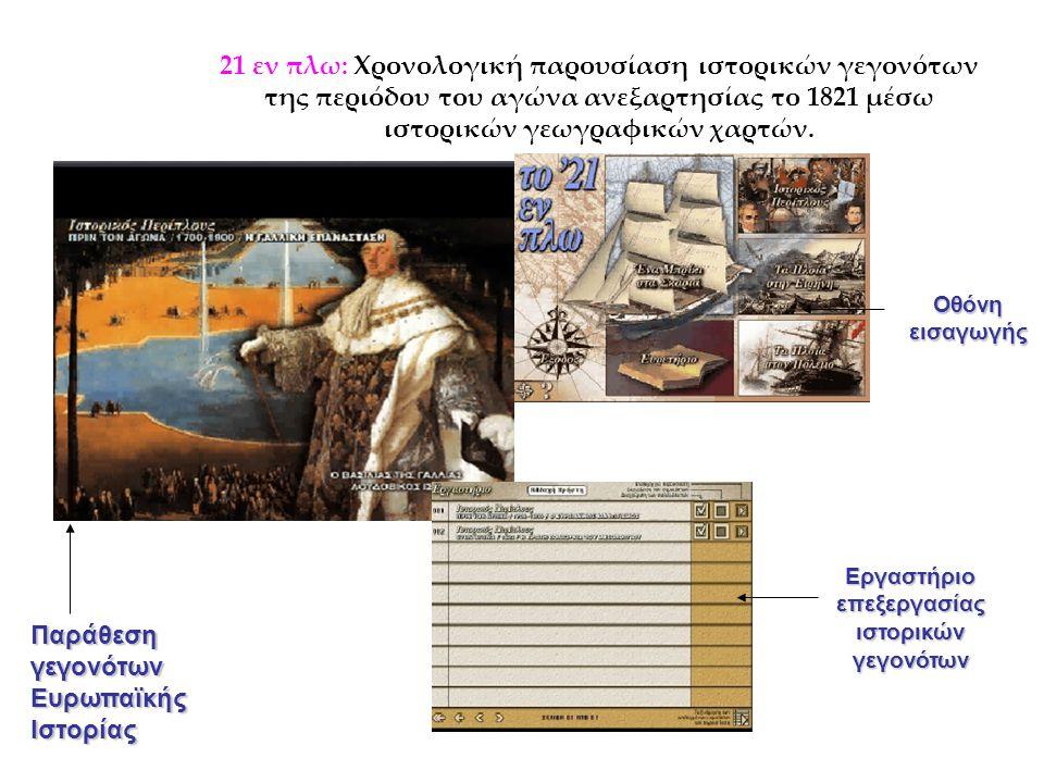21 εν πλω: Χρονολογική παρουσίαση ιστορικών γεγονότων της περιόδου του αγώνα ανεξαρτησίας το 1821 μέσω ιστορικών γεωγραφικών χαρτών. Παράθεση γεγονότω