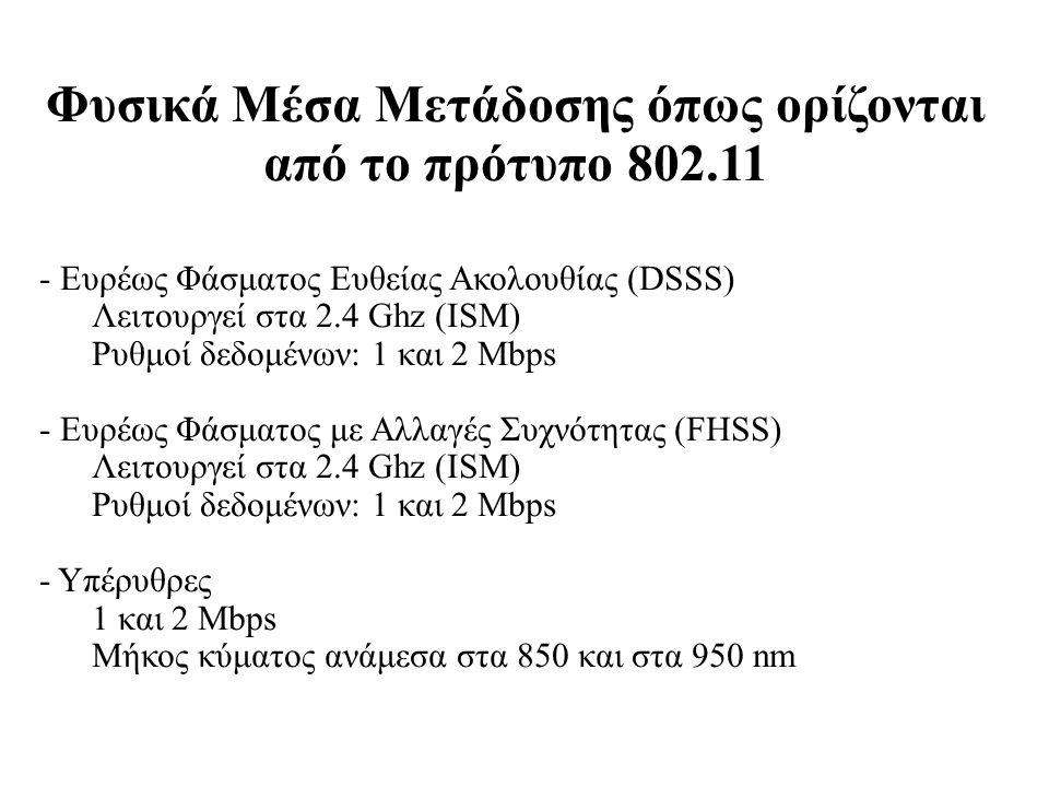 Φυσικά Μέσα Μετάδοσης όπως ορίζονται από το πρότυπο 802.11 - Ευρέως Φάσματος Ευθείας Ακολουθίας (DSSS) Λειτουργεί στα 2.4 Ghz (ISM) Ρυθμοί δεδομένων: