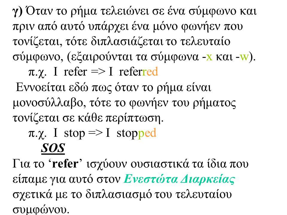 γ) Όταν το ρήμα τελειώνει σε ένα σύμφωνο και πριν από αυτό υπάρχει ένα μόνο φωνήεν που τονίζεται, τότε διπλασιάζεται το τελευταίο σύμφωνο, (εξαιρούνται τα σύμφωνα -x και -w).