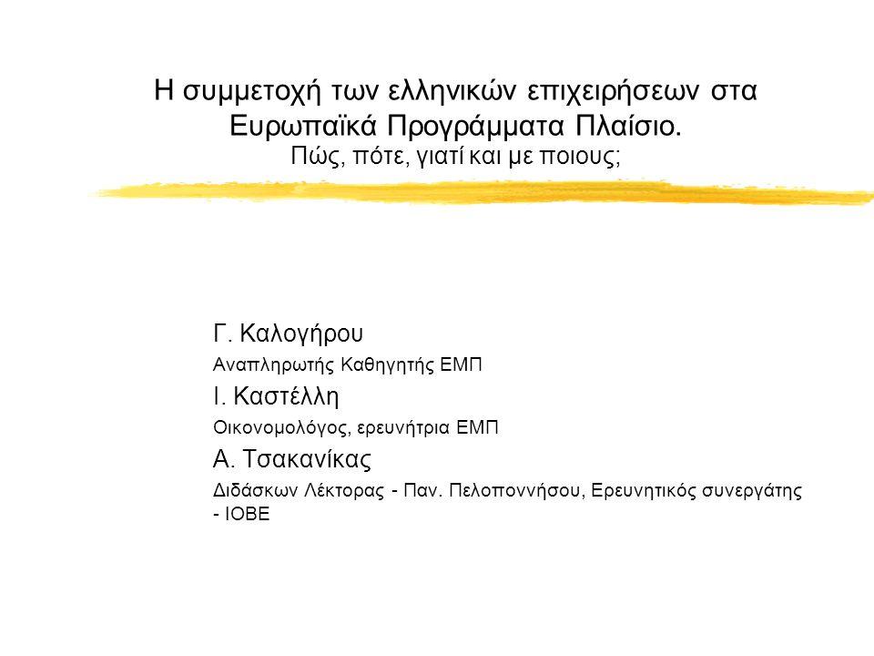 Η συμμετοχή των ελληνικών επιχειρήσεων στα Ευρωπαϊκά Προγράμματα Πλαίσιο.
