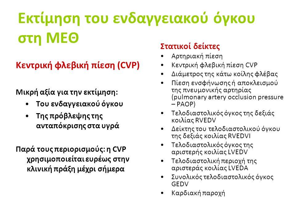 Εκτίμηση του ενδαγγειακού όγκου στη ΜΕΘ Κεντρική φλεβική πίεση (CVP) Μικρή αξία για την εκτίμηση: Του ενδαγγειακού όγκου Της πρόβλεψης της ανταπόκρισης στα υγρά Παρά τους περιορισμούς: η CVP χρησιμοποιείται ευρέως στην κλινική πράξη μέχρι σήμερα Στατικοί δείκτες Αρτηριακή πίεση Κεντρική φλεβική πίεση CVP Διάμετρος της κάτω κοίλης φλέβας Πίεση ενσφήνωσης ή αποκλεισμού της πνευμονικής αρτηρίας (pulmonary artery occlusion pressure – PAOΡ) Τελοδιαστολικός όγκος της δεξιάς κοιλίας RVEDV Δείκτης του τελοδιαστολικού όγκου της δεξιάς κοιλίας RVEDVI Τελοδιαστολικός όγκος της αριστερής κοιλίας LVEDV Τελοδιαστολική περιοχή της αριστεράς κοιλίας LVEDA Συνολικός τελοδιαστολικός όγκος GEDV Καρδιακή παροχή