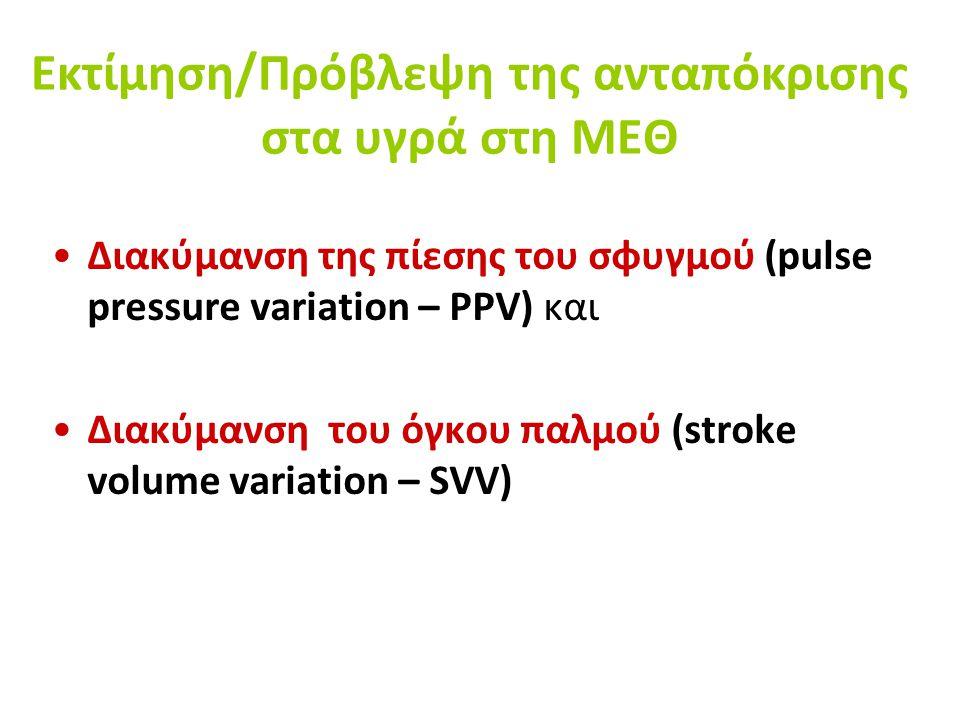 Εκτίμηση/Πρόβλεψη της ανταπόκρισης στα υγρά στη ΜΕΘ Διακύμανση της πίεσης του σφυγμού (pulse pressure variation – PPV) και Διακύμανση του όγκου παλμού (stroke volume variation – SVV)
