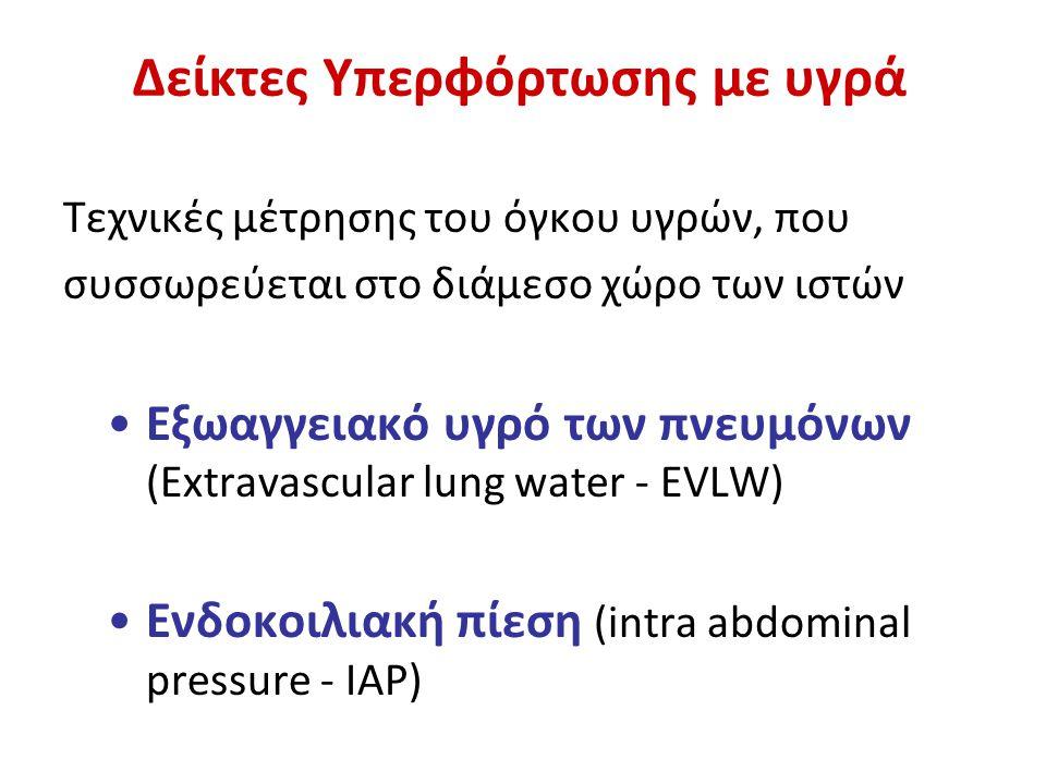 Δείκτες Υπερφόρτωσης με υγρά Τεχνικές μέτρησης του όγκου υγρών, που συσσωρεύεται στο διάμεσο χώρο των ιστών Εξωαγγειακό υγρό των πνευμόνων (Extravascular lung water - EVLW) Ενδοκοιλιακή πίεση (intra abdominal pressure - IAP)